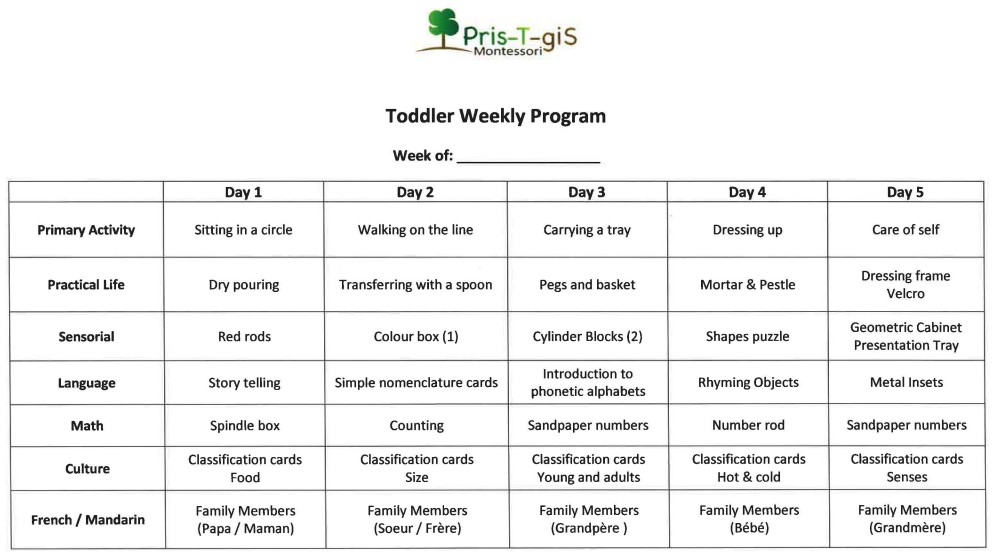 Sample Weekly Schedules  PrisTGis Montessori School